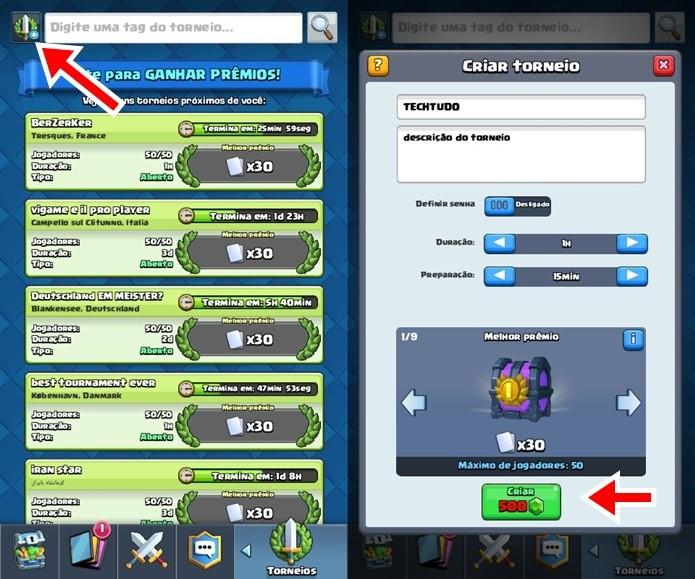 A opção de criação de torneios em Clash Royale, fica localizada no canto superior esquerdo da tela (Foto: Reprodução / Supercell)