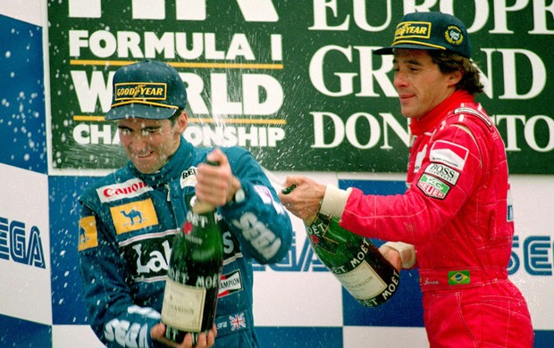 Ayrton Senna Damon Hill pódio Donington Park 1993 (Foto: Getty Images)