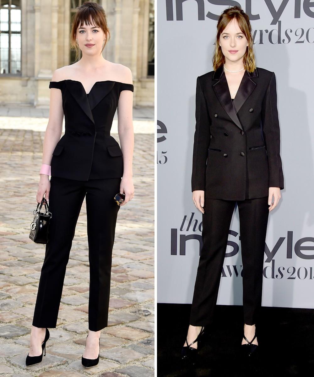 Dakota também mostrou que carrega com estilo produções de inspiração masculina; aqui, na entrada do desfile da Dior e em premiação de publicação de moda (Foto: Getty Images)