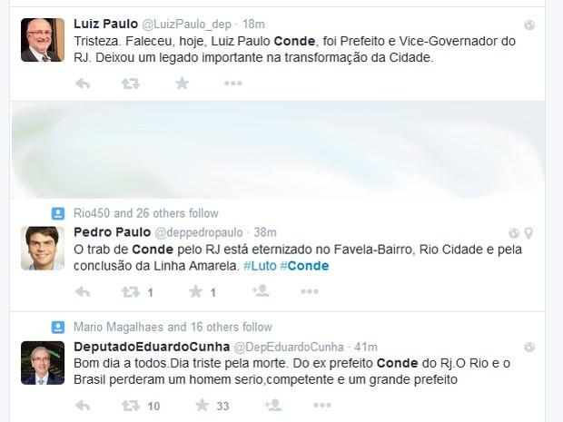 Políticos lamentam na web morte de Luiz Paulo Conde, ex-prefeito do Rio (Foto: Reprodução/Twitter)