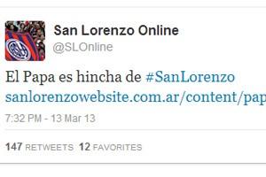 Twitter do San Lorenzo, time pelo qual torce o novo Papa (Foto: Reprodução)