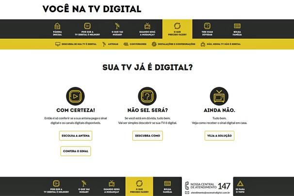 Site Você na TV Digital, que traz as informações oficiais sobre o desligamento do sinal analógico e sobre o digital (Foto: Reprodução)