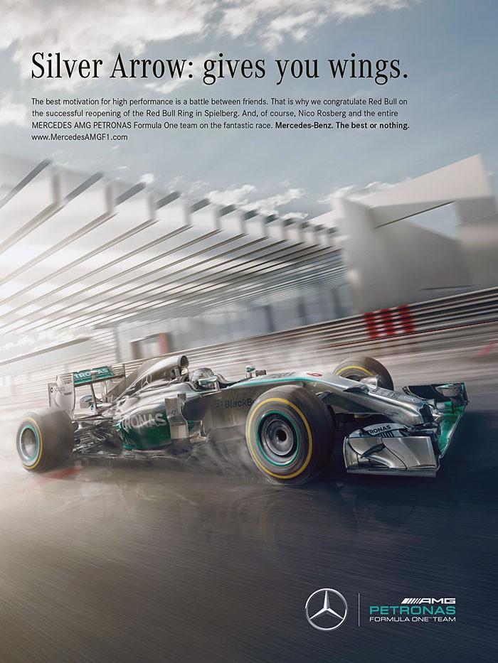 Anúncio da Mercedes tripudiando da RBR