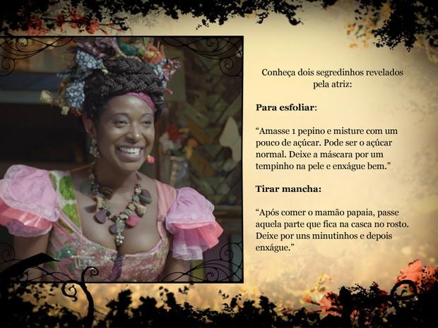 Dani Ornellas ensina receitas para a pele (Foto: Meu Pedacinho de Chão/TV Globo)