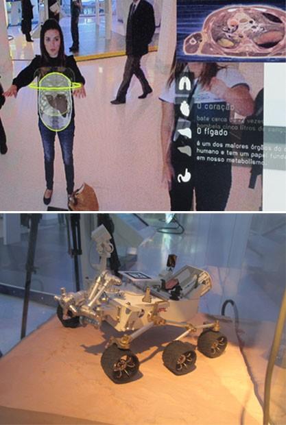 """Acima, o """"Espelho Mágico"""", em que é possível visualizar os órgãos internos de uma pessoa; abaixo, uma réplica em miniatura do jipe Curiosity, da Nasa, que está em Marte (Foto: G1)"""