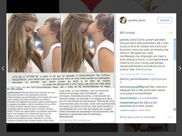 Pâmela Bório publicou em uma rede social uma foto com o filho comentando sobre a decisão judicial (Foto: Reprodução/Instagram)
