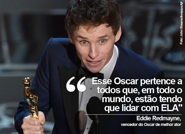 Eddie Redmayne levou o Oscar de melhor ator em sua primeira indicação, e homenageou Stephen Hawking e outros pacientes com ELA (Foto: John Shearer/Invision/AP)