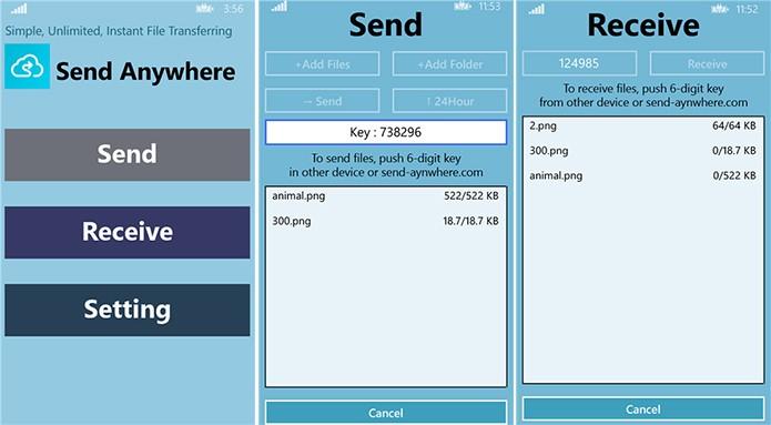Send Anywhere é um aplicativo de compartilhamento para Windows Phone, Android e iOS (Foto: Divulgação/Windows Phone Store)