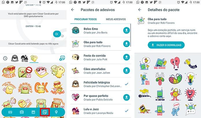 Google Allo possui suporte à troca de stickers entre usuários (Foto: Reprodução/Elson de Souza)