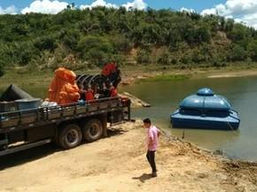 Embasa informou que está instalando um sistema de bombeamento para fazer a reversão do lago de Santa Helena, na Bahia (Foto: Divulgação/Embasa)