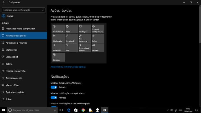 Windows 10 ganhou nova interface nas configurações da Build 14328 (Foto: Reprodução/Elson de Souza)