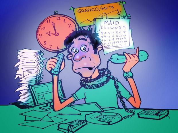 Ilustração representa trabalhadores que adoecem em busca de metas intangíveis no trabalho (Foto: Renato Munhoz)
