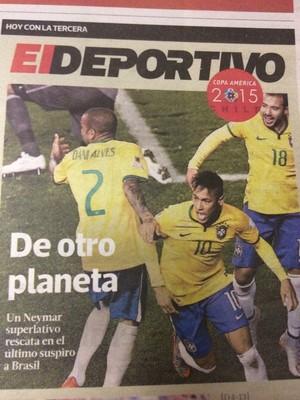 """Jornal """"La Tercera"""" exalta Neymar (Foto: Reprodução)"""