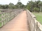 Motos trafegam sobre ponte para pedestre e comprometem estrutura