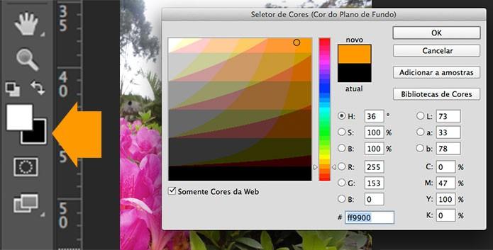 Selecionando a cor de segundo plano (Foto: Reprodução/André Sugai)