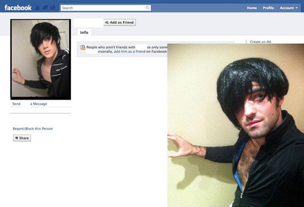 Usuário utilizou até peruca para imitar foto de perfil (Foto: Reprodução)
