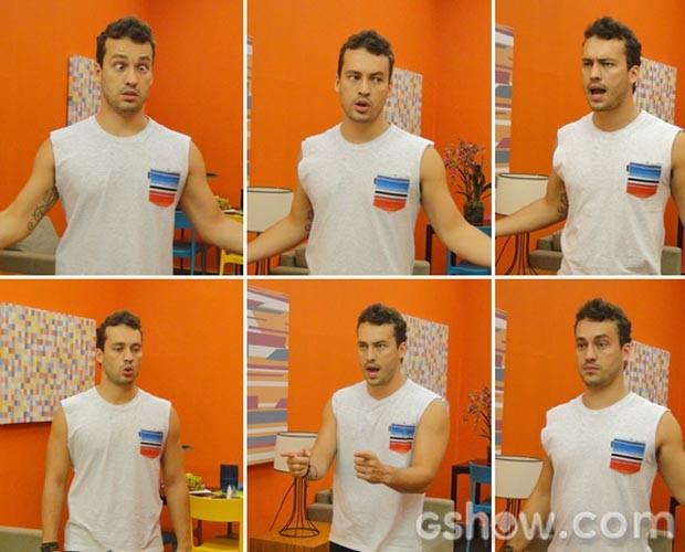 Rodrigo faz caras e bocas durante ensaio vocal (Foto: Domingão do Faustão/TvGlobo)
