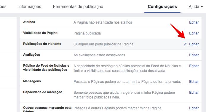 Editando configurações da página (Foto: Reprodução/Helito Bijora)