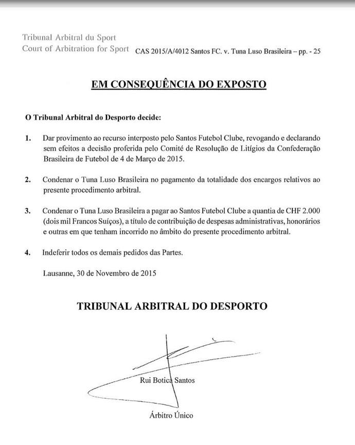 Documento, Corte Arbitral do Esporte, Ganso, Santos (Foto: Reprodução)
