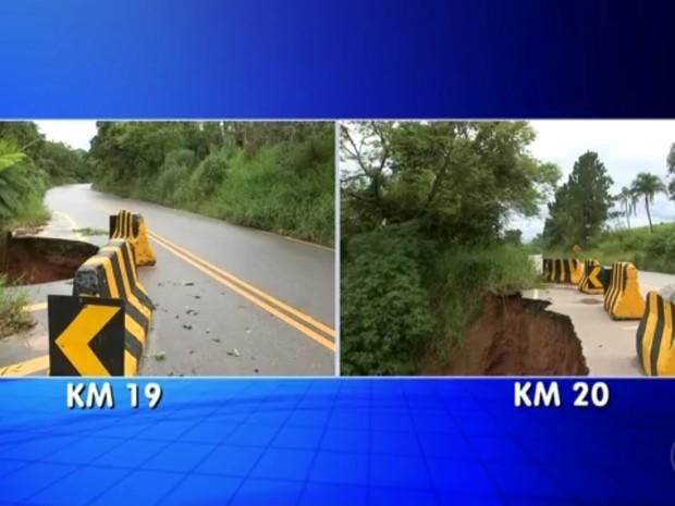 Desmoronamentos na estrada começaram há quase um ano (Foto: Reprodução/TV TEM)