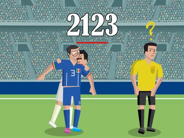 Em 'La Mordida', jogador deve acumular pontos mordendo o italiano Giorgio Chiellini sem que o juiz perceba (Foto: Reprodução/La Mordida)