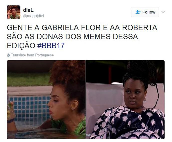 Tweet Gabriela e Roberta (Foto: Reprodução)