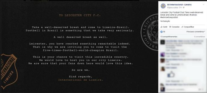Inter de Limeira Leão da Paulista Carta Aberta Leicester (Foto: Reprodução / Facebook)