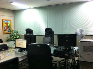 sala onde foram feitas as audiências do caso BC (Foto: G1)