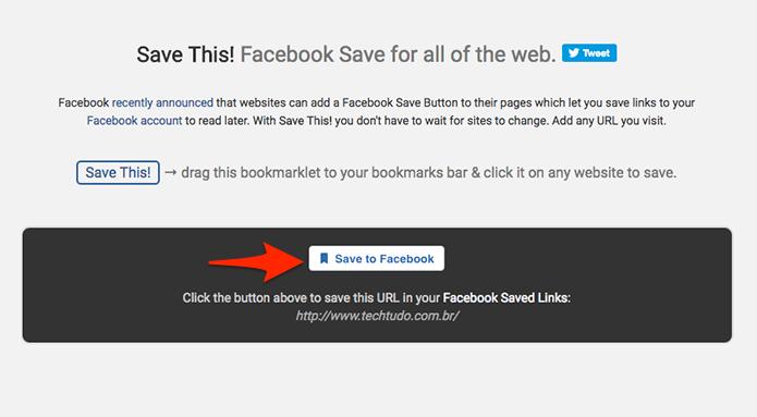 Uma janela será aberta, clique no botão Save to Facebook. (Foto: Reprodução/Alessandro Junior)