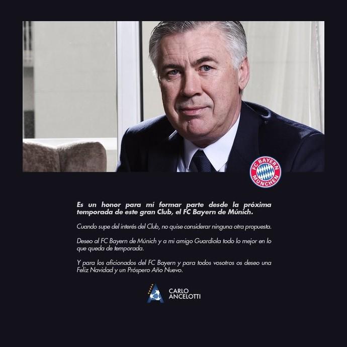 Carlo Ancelotti agradece Bayern de Munique e Guardiola (Foto: Reprodução Twitter)
