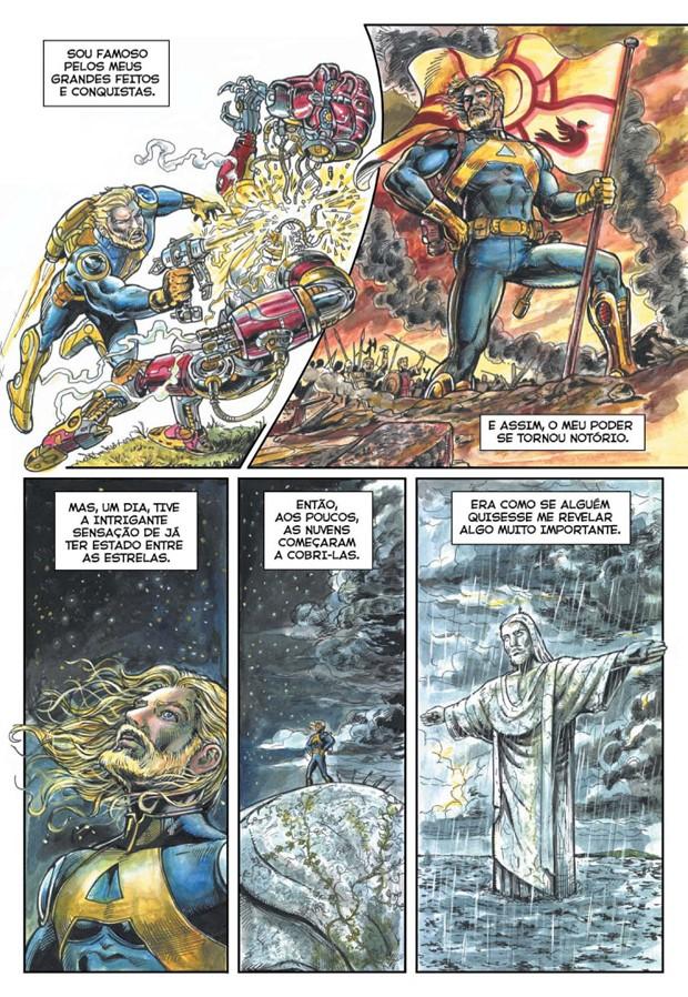 Personagem Astronauta de Jairo Alves ganhou traços sérios, lembrando os personagens da Marvel e da DC (Foto: Divulgação/Jairo Alves)