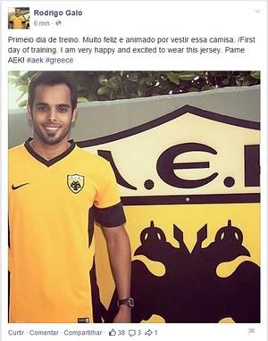 Rodrigo Galo, lateral do AEK, da Grécia (Foto: Reprodução/Facebook)
