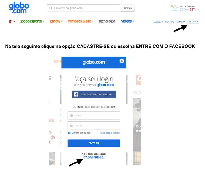 Cadastro Globo.com (Foto: Reprodução)