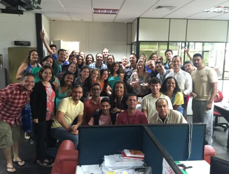 Despedida do Buery na redação do jornalismo (Foto: Bruna Borjaille)