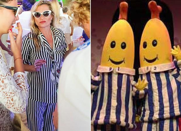Kate Moss e seu look estilo pijamas (Foto: Divulgação)