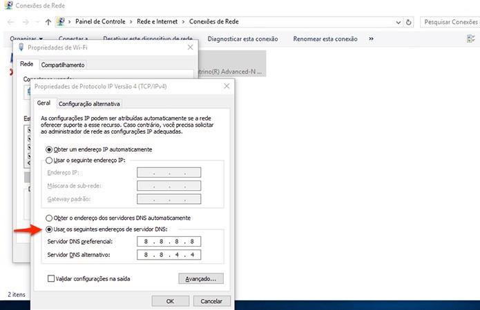 Neste exemplo utilizamos o endereço do Google Public DNS. (Foto: Reprodução/Alessandro Junior)