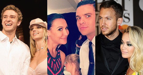 Britney Spears e Justin Timberlake, Naya Rivera e Mark Salling, Calvin Harris e Rita Ora (Foto: Getty Images / Instagram)