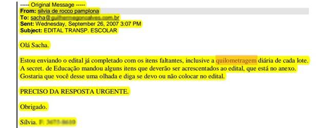 Trecho de e-mail da Silvia de Rocco sobre edital de Piraquara (Foto: Reprodução)