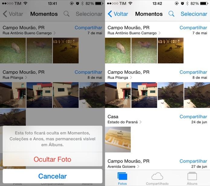 Ocultando foto da galeria do iPhone (Foto: Reprodução/Helito Bijora)