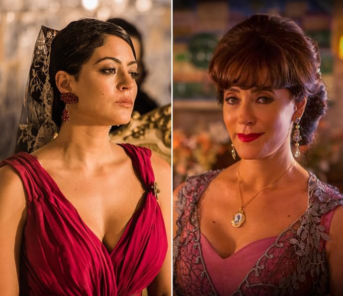 Iolanda é interpretada por Carol Castro na primeira fase e por Christiane Torloni na segunda (Foto: Caiuá Franco/ Globo e Inácio Moraes/ Gshow)