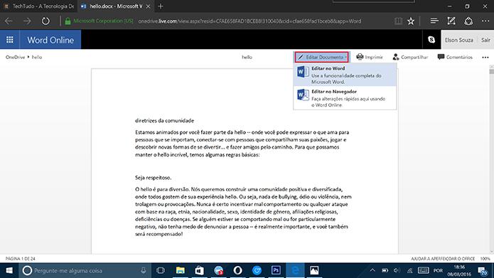 Office Online pode abrir arquivos no programa convencional ou no próprio navegador (Foto: Reprodução/Elson de Souza)