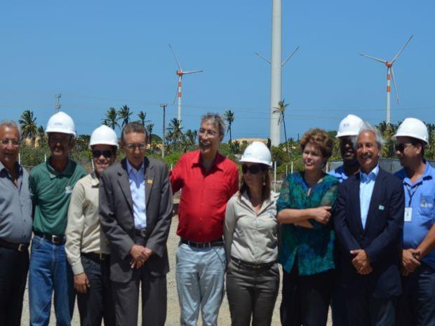 Dilma Rousseff e Marcelo Deda participam na inaguração do Parque Eólico (Foto: Flávio Antunes/ G1 SE)