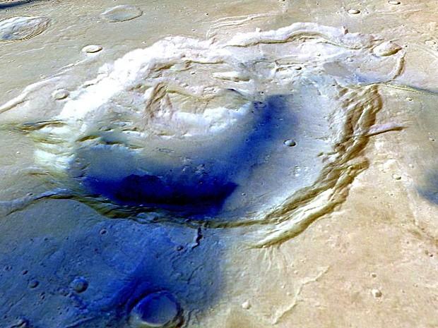 Imagem em 3D revela Eden Patera na direção ao leste. (Foto: ESA/Mars Express/Freie Universitat Berlin )