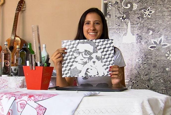 O Marcão saiu ganhando e virou arte nas mãos da Gabriela (Foto: Reprodução / TV TEM)