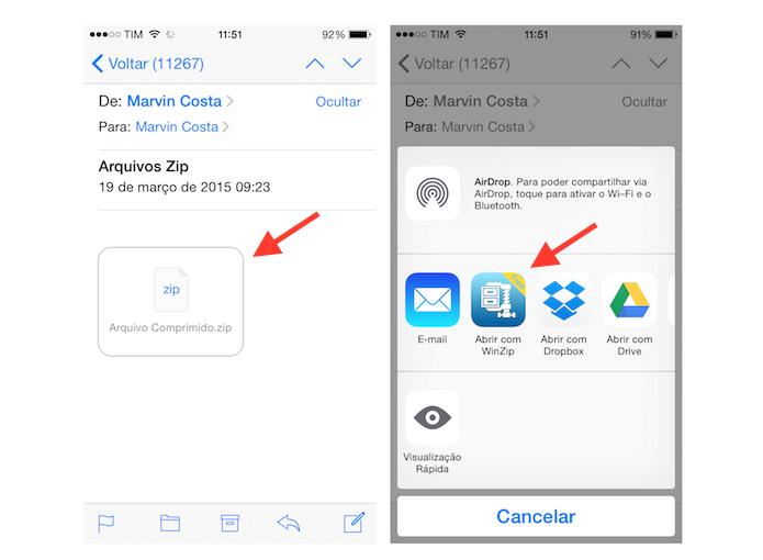 Abrindo um arquivo zipado recebido por e-mail com o WinZip para iPhone (Foto: Reprodução/Marvin Costa)