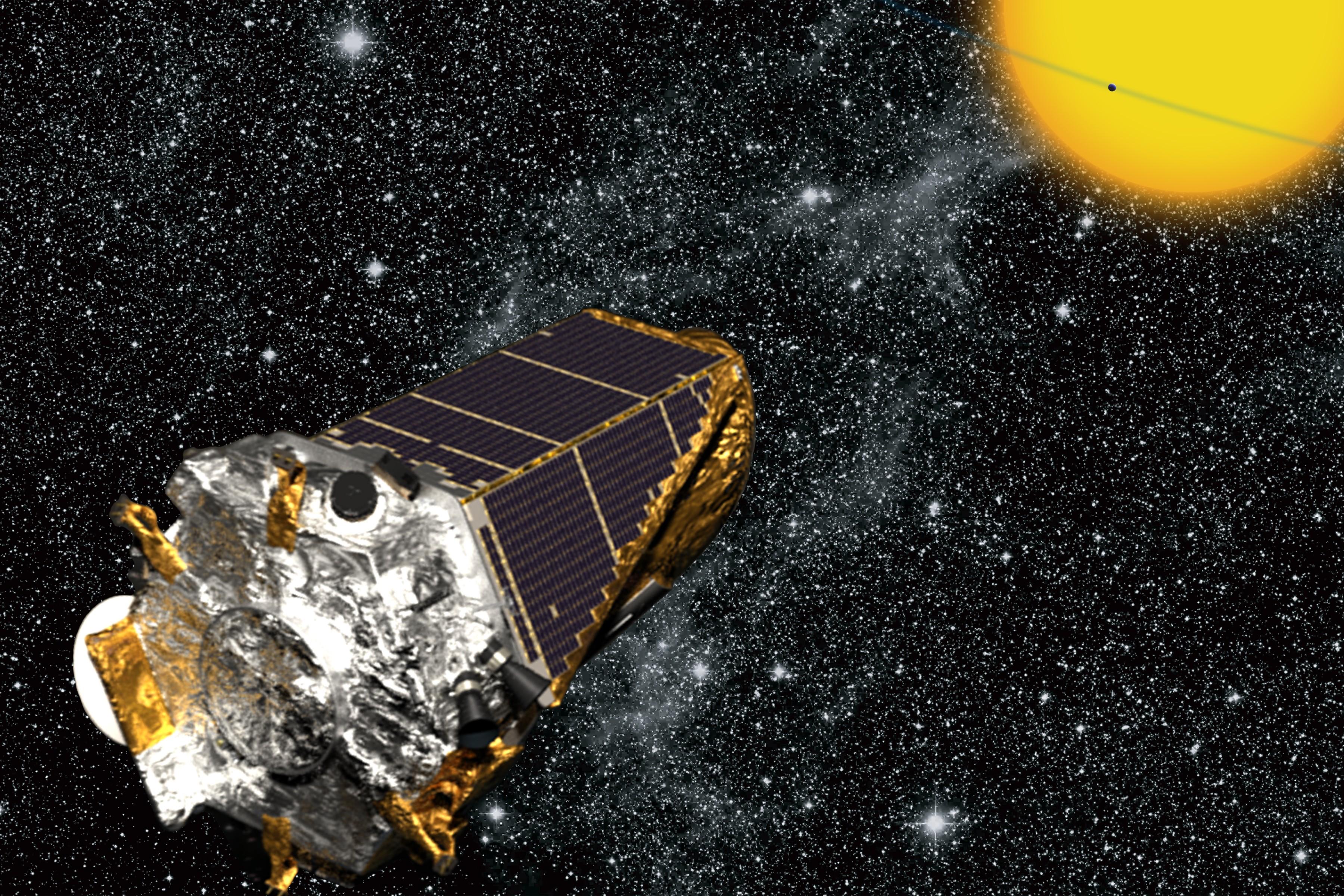Montagem do telescópio Kepler explorando o Universo (Foto: NASA/Kepler mission/Wendy Stenzel)