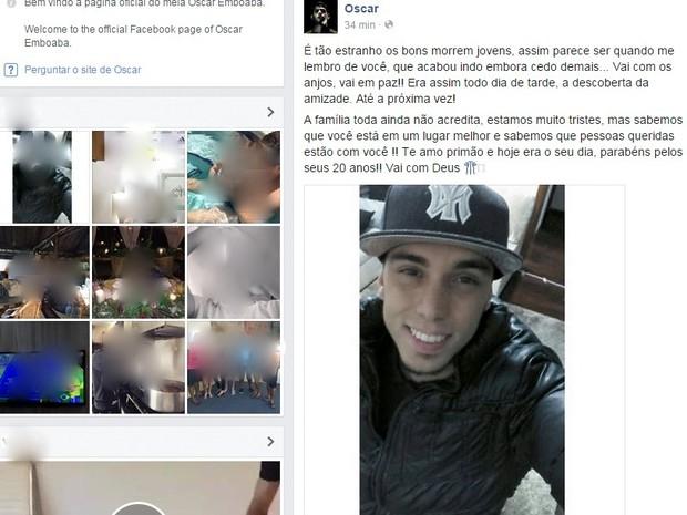 Jogador da seleção brasileira lamenta morte de primo em Santa Bárbara d´Oeste (Foto: Reprodução Facebook)
