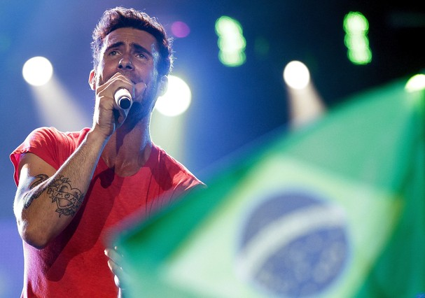 Adam Levine em show do Maroon 5 no Rock in Rio (Foto: Getty Images)