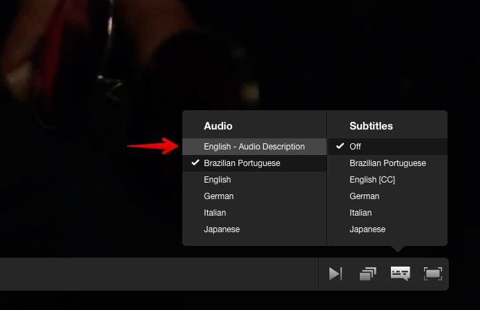 Selecione a opção de áudiodescrição (Foto: Reprodução/Helito Bijora)