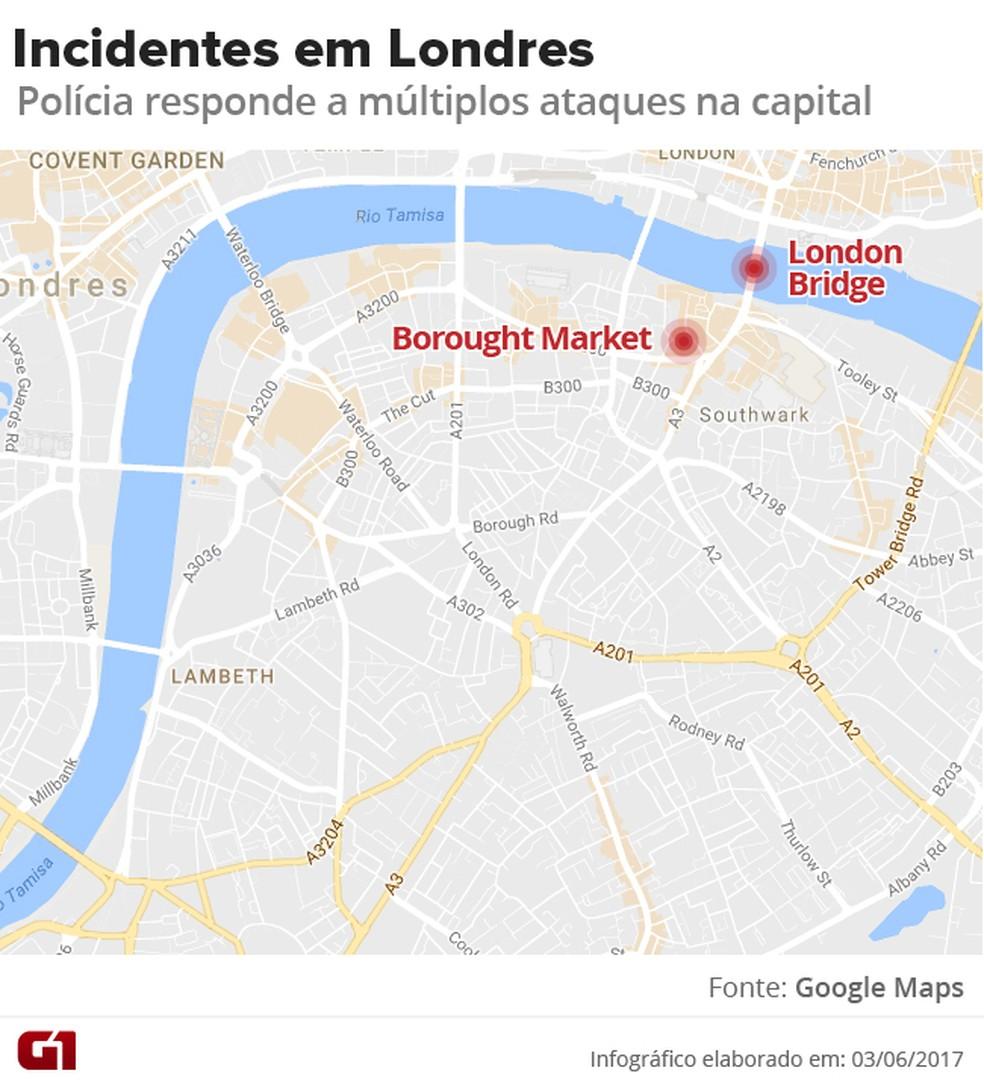 Ataques em Londres (Foto: Arte/G1)